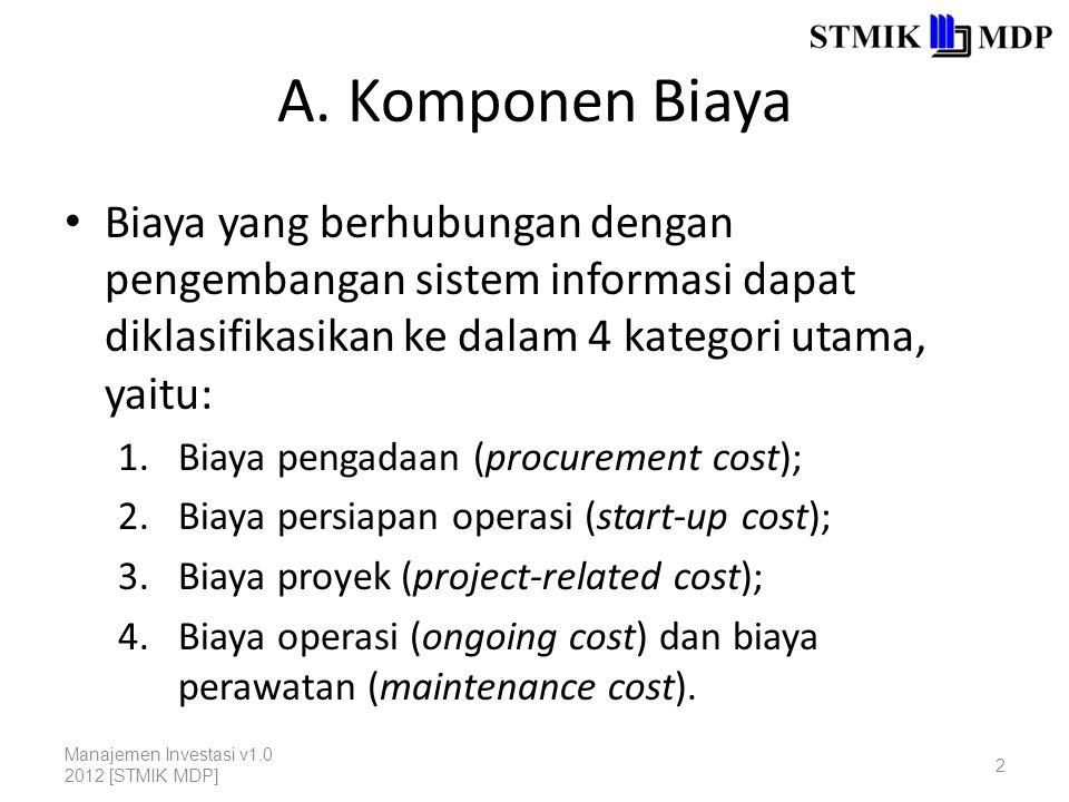A. Komponen Biaya Biaya yang berhubungan dengan pengembangan sistem informasi dapat diklasifikasikan ke dalam 4 kategori utama, yaitu: 1.Biaya pengada