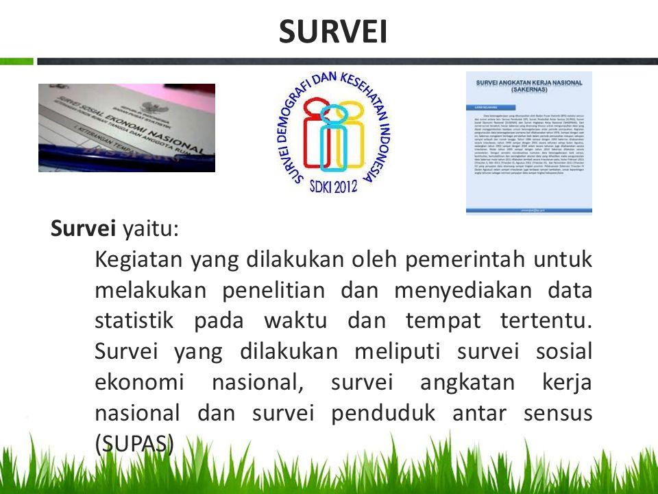 Survei yaitu: Kegiatan yang dilakukan oleh pemerintah untuk melakukan penelitian dan menyediakan data statistik pada waktu dan tempat tertentu. Survei