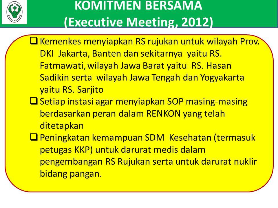 KOMITMEN BERSAMA (Executive Meeting, 2012)  Kemenkes menyiapkan RS rujukan untuk wilayah Prov. DKI Jakarta, Banten dan sekitarnya yaitu RS. Fatmawati