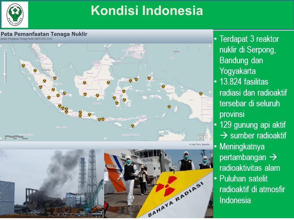 Kondisi Indonesia Terdapat 3 reaktor nuklir di Serpong, Bandung dan Yogyakarta 13.824 fasilitas radiasi dan radioaktif tersebar di seluruh provinsi 129 gunung api aktif  sumber radioaktif Meningkatnya pertambangan  radioaktivitas alam Puluhan satelit radioaktif di atmosfir Indonesia