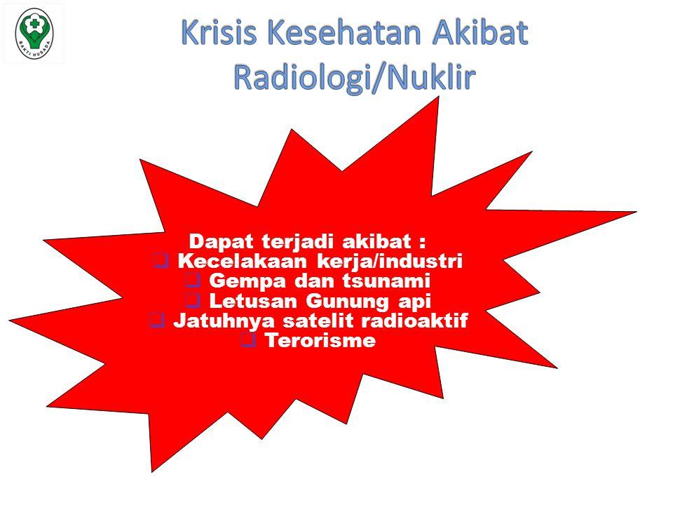 Dapat terjadi akibat :  Kecelakaan kerja/industri  Gempa dan tsunami  Letusan Gunung api  Jatuhnya satelit radioaktif  Terorisme