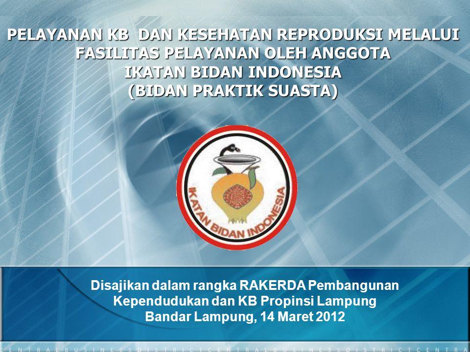 PELAYANAN KB DAN KESEHATAN REPRODUKSI MELALUI FASILITAS PELAYANAN OLEH ANGGOTA IKATAN BIDAN INDONESIA (BIDAN PRAKTIK SUASTA) Disajikan dalam rangka RA