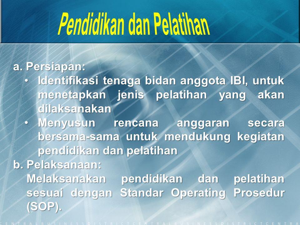 a. Persiapan: Identifikasi tenaga bidan anggota IBI, untuk menetapkan jenis pelatihan yang akan dilaksanakanIdentifikasi tenaga bidan anggota IBI, unt