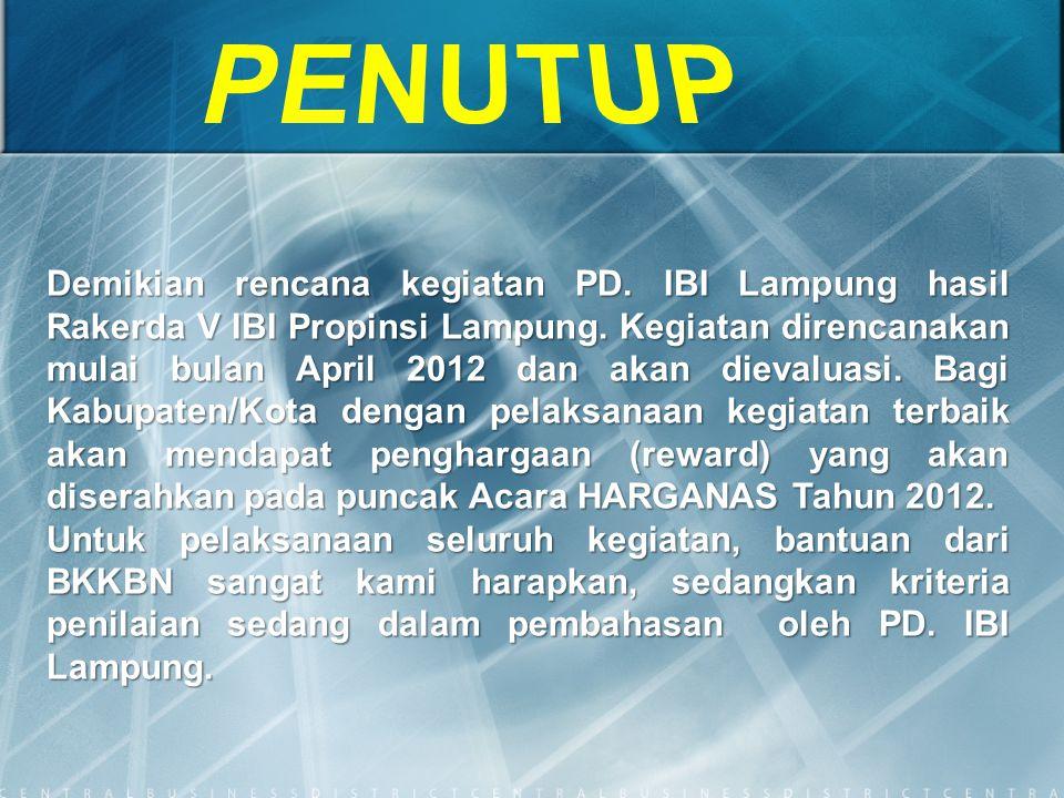 Demikian rencana kegiatan PD. IBI Lampung hasil Rakerda V IBI Propinsi Lampung. Kegiatan direncanakan mulai bulan April 2012 dan akan dievaluasi. Bagi