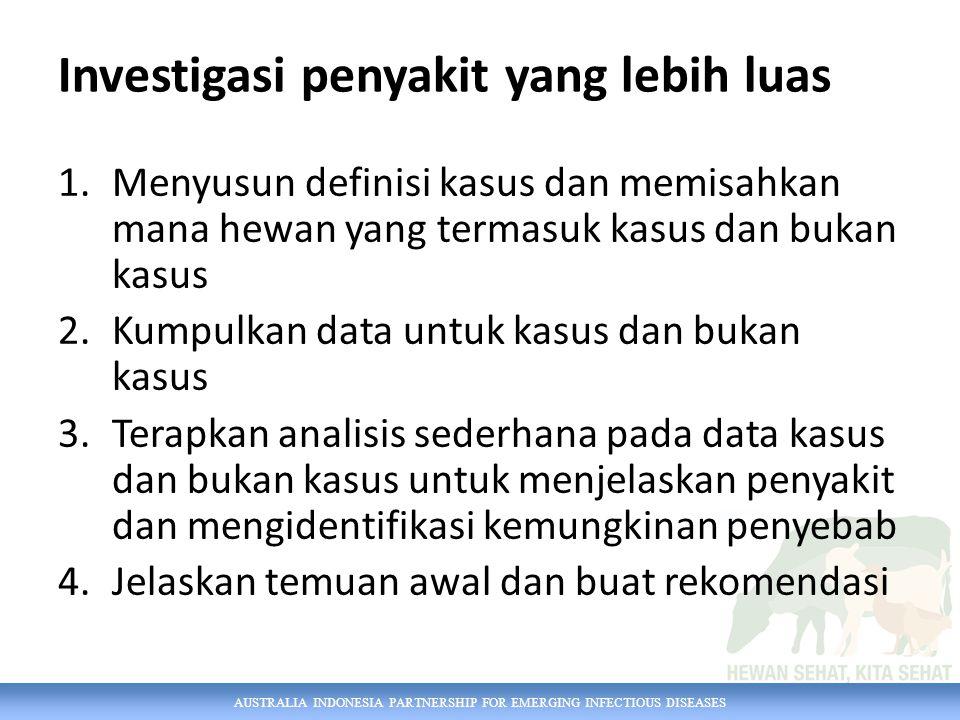 AUSTRALIA INDONESIA PARTNERSHIP FOR EMERGING INFECTIOUS DISEASES 1.Menyusun definisi kasus dan memisahkan mana hewan yang termasuk kasus dan bukan kas