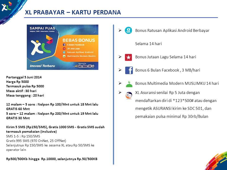 XL PRABAYAR – KARTU PERDANA Pertanggal 5 Juni 2014 Harga Rp 5000 Termasuk pulsa Rp 5000 Masa aktif : 30 hari Masa tenggang : 20 hari 12 malam – 5 sore