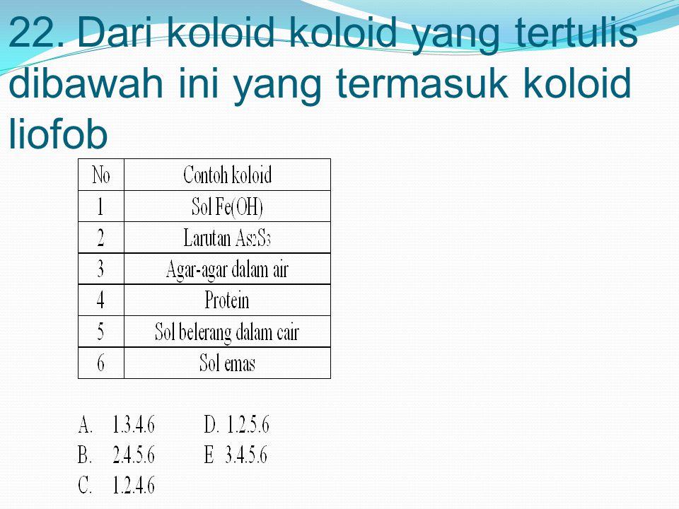 22.Dari koloid koloid yang tertulis dibawah ini yang termasuk koloid liofob