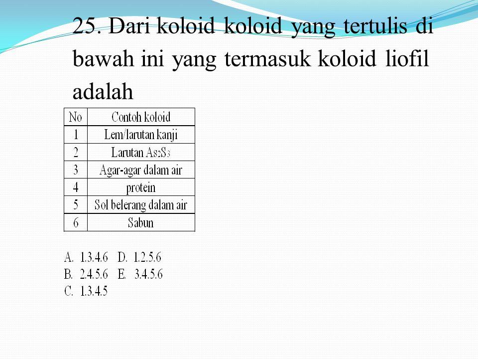 25. Dari koloid koloid yang tertulis di bawah ini yang termasuk koloid liofil adalah