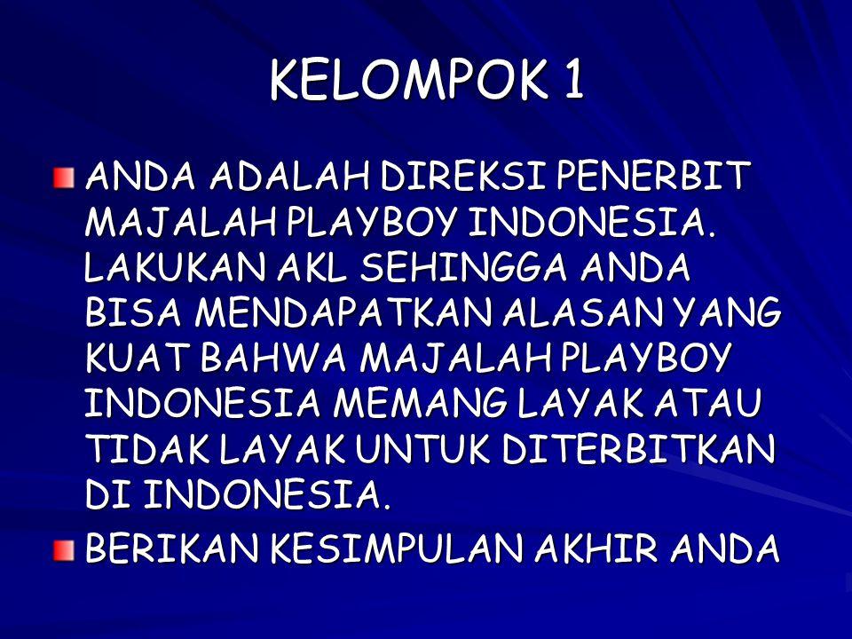 KELOMPOK 1 ANDA ADALAH DIREKSI PENERBIT MAJALAH PLAYBOY INDONESIA. LAKUKAN AKL SEHINGGA ANDA BISA MENDAPATKAN ALASAN YANG KUAT BAHWA MAJALAH PLAYBOY I