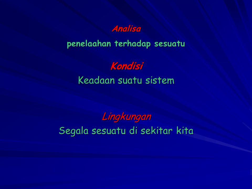 So …… Analisa Kondisi Lingkungan adalah…..