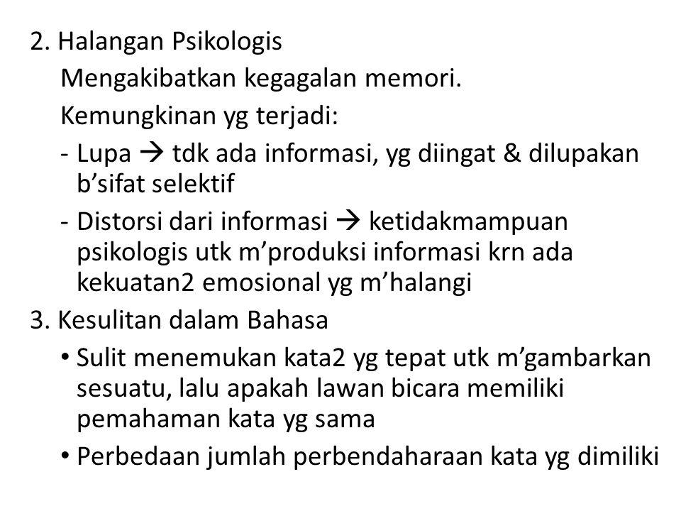 2. Halangan Psikologis Mengakibatkan kegagalan memori. Kemungkinan yg terjadi: -Lupa  tdk ada informasi, yg diingat & dilupakan b'sifat selektif -Dis