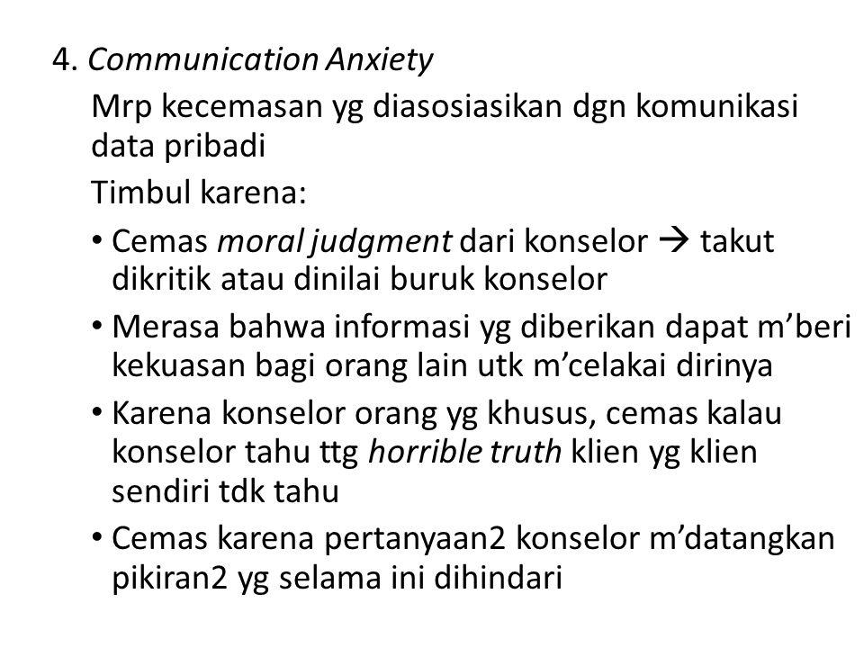 4. Communication Anxiety Mrp kecemasan yg diasosiasikan dgn komunikasi data pribadi Timbul karena: Cemas moral judgment dari konselor  takut dikritik
