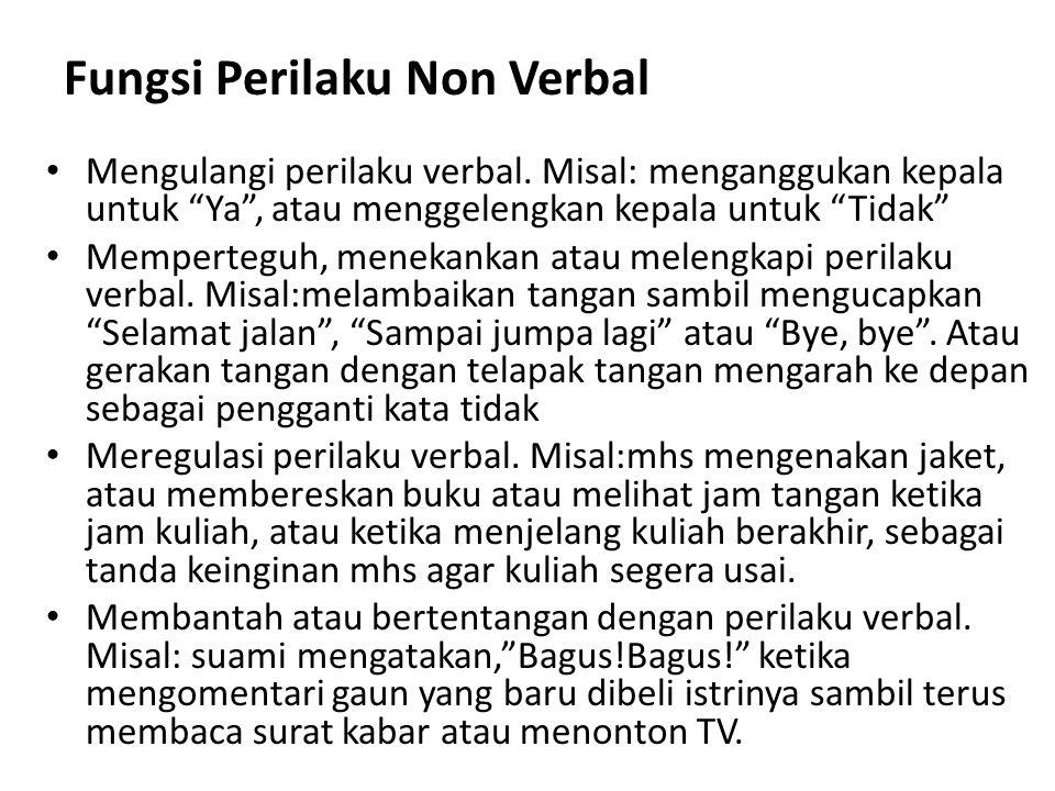 """Fungsi Perilaku Non Verbal Mengulangi perilaku verbal. Misal: menganggukan kepala untuk """"Ya"""", atau menggelengkan kepala untuk """"Tidak"""" Memperteguh, men"""