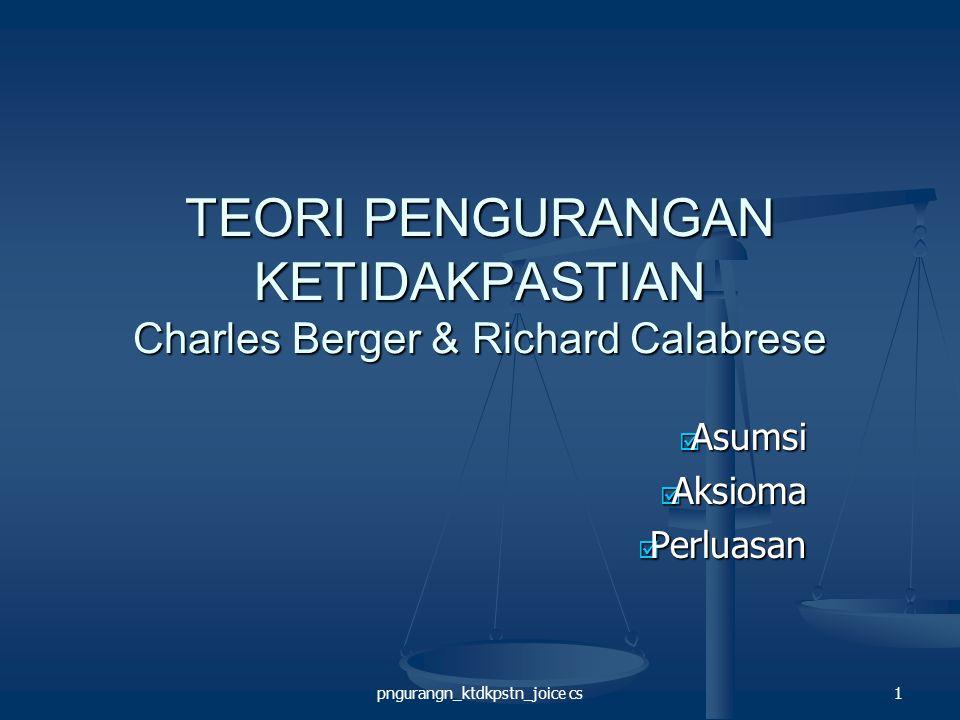 pngurangn_ktdkpstn_joice cs22 Perluasan Teori KONDISI PENDAHULU KONDISI PENDAHULU Berger (1979) menyatakan adanya tiga kondisi pendahulu utama: Berger (1979) menyatakan adanya tiga kondisi pendahulu utama:  Ketika orang satunya mempunyai potensi untuk memberikan penghargaan atau hukuman.