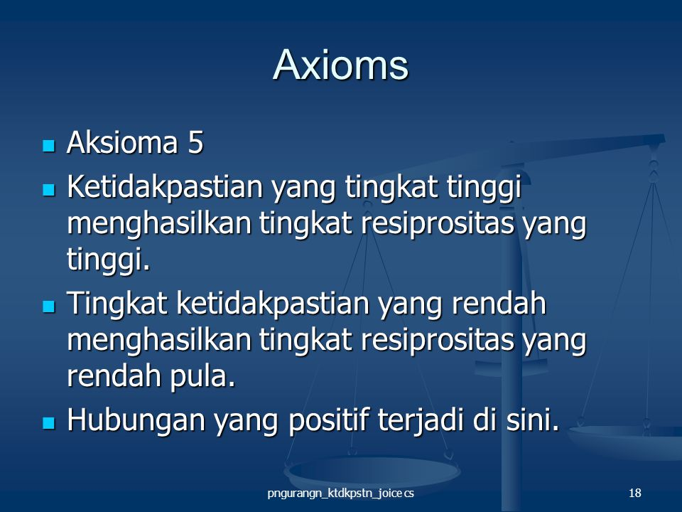 pngurangn_ktdkpstn_joice cs18 Axioms Aksioma 5 Aksioma 5 Ketidakpastian yang tingkat tinggi menghasilkan tingkat resiprositas yang tinggi.