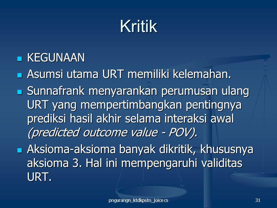 pngurangn_ktdkpstn_joice cs31 Kritik KEGUNAAN KEGUNAAN Asumsi utama URT memiliki kelemahan.