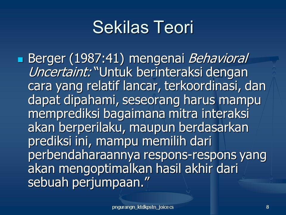pngurangn_ktdkpstn_joice cs8 Sekilas Teori Berger (1987:41) mengenai Behavioral Uncertaint: Untuk berinteraksi dengan cara yang relatif lancar, terkoordinasi, dan dapat dipahami, seseorang harus mampu memprediksi bagaimana mitra interaksi akan berperilaku, maupun berdasarkan prediksi ini, mampu memilih dari perbendaharaannya respons-respons yang akan mengoptimalkan hasil akhir dari sebuah perjumpaan. Berger (1987:41) mengenai Behavioral Uncertaint: Untuk berinteraksi dengan cara yang relatif lancar, terkoordinasi, dan dapat dipahami, seseorang harus mampu memprediksi bagaimana mitra interaksi akan berperilaku, maupun berdasarkan prediksi ini, mampu memilih dari perbendaharaannya respons-respons yang akan mengoptimalkan hasil akhir dari sebuah perjumpaan.