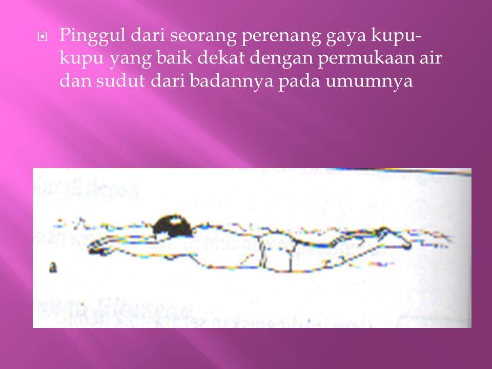  Pinggul dari seorang perenang gaya kupu- kupu yang baik dekat dengan permukaan air dan sudut dari badannya pada umumnya