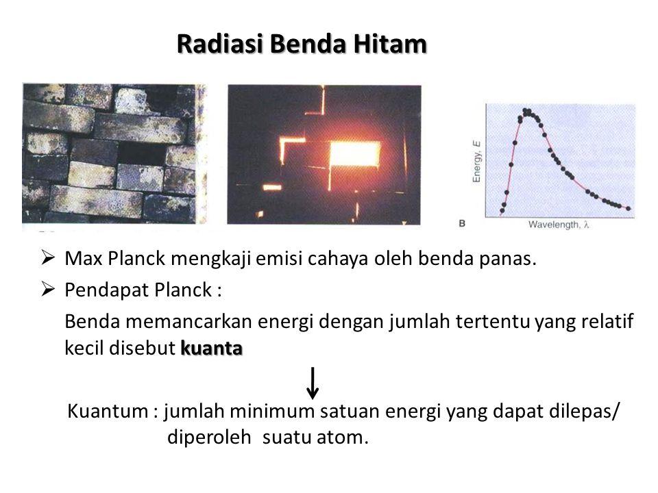 Radiasi Benda Hitam MMax Planck mengkaji emisi cahaya oleh benda panas. PPendapat Planck : Benda memancarkan energi dengan jumlah tertentu yang re
