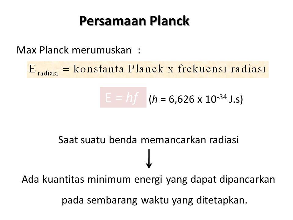 Max Planck merumuskan : (h = 6,626 x 10 -34 J.s) Saat suatu benda memancarkan radiasi Ada kuantitas minimum energi yang dapat dipancarkan pada sembara