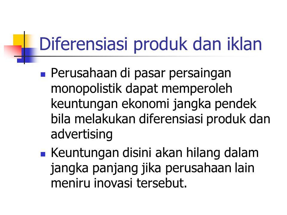 Diferensiasi produk dan iklan Perusahaan di pasar persaingan monopolistik dapat memperoleh keuntungan ekonomi jangka pendek bila melakukan diferensias