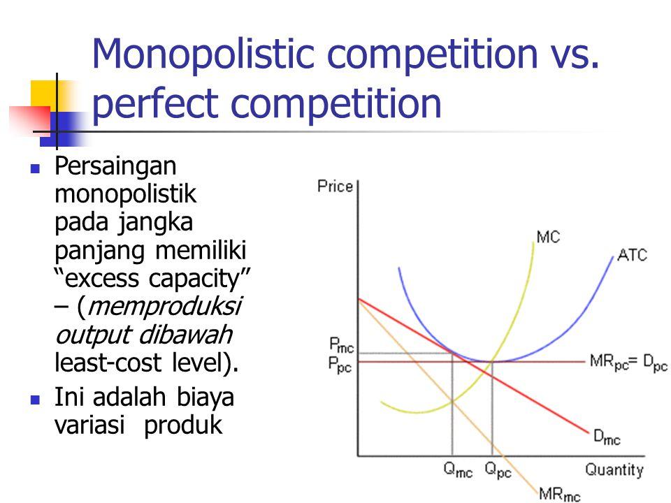 """Monopolistic competition vs. perfect competition Persaingan monopolistik pada jangka panjang memiliki """"excess capacity"""" – (memproduksi output dibawah"""
