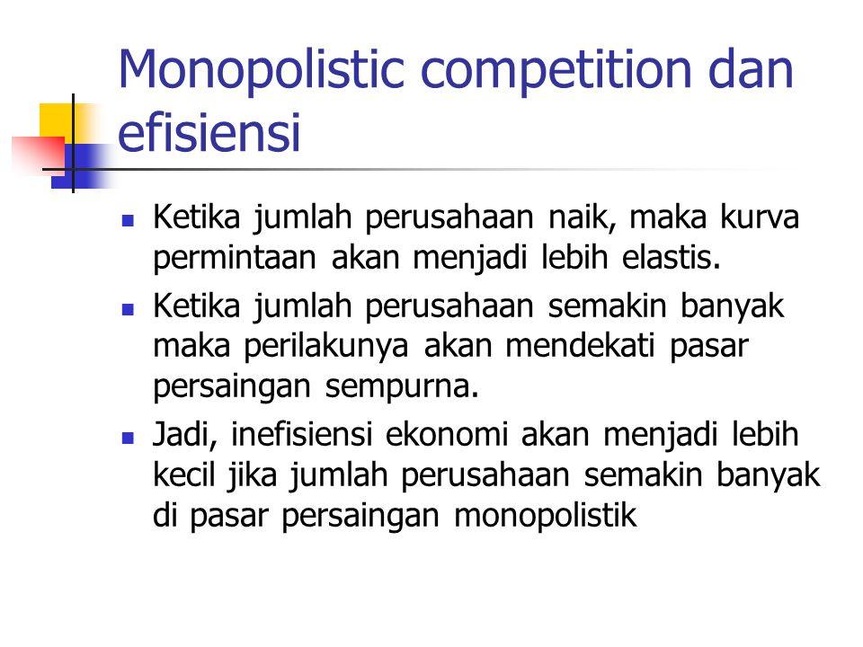 Monopolistic competition dan efisiensi Ketika jumlah perusahaan naik, maka kurva permintaan akan menjadi lebih elastis. Ketika jumlah perusahaan semak