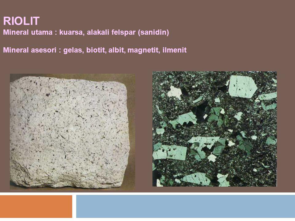 RIOLIT Mineral utama : kuarsa, alakali felspar (sanidin) Mineral asesori : gelas, biotit, albit, magnetit, ilmenit