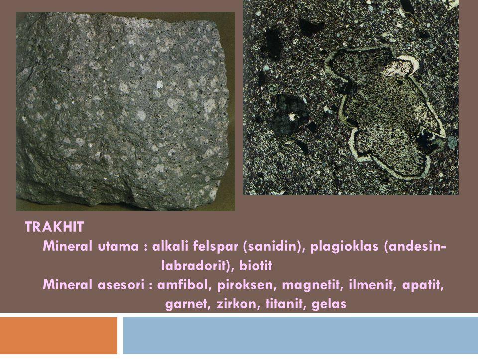TRAKHIT Mineral utama : alkali felspar (sanidin), plagioklas (andesin- labradorit), biotit Mineral asesori : amfibol, piroksen, magnetit, ilmenit, apa