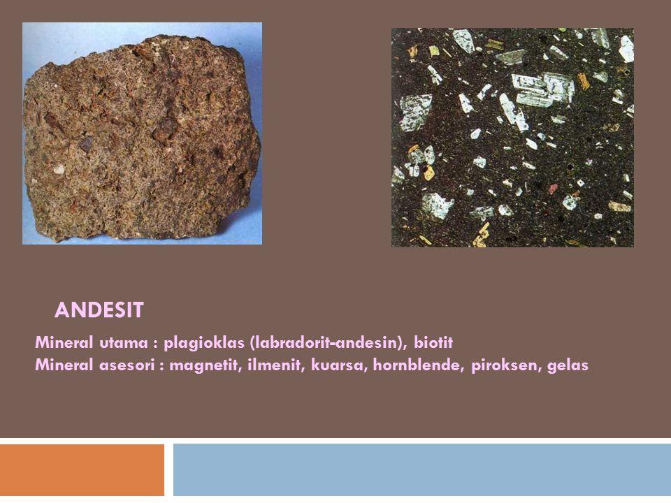 ANDESIT Mineral utama : plagioklas (labradorit-andesin), biotit Mineral asesori : magnetit, ilmenit, kuarsa, hornblende, piroksen, gelas