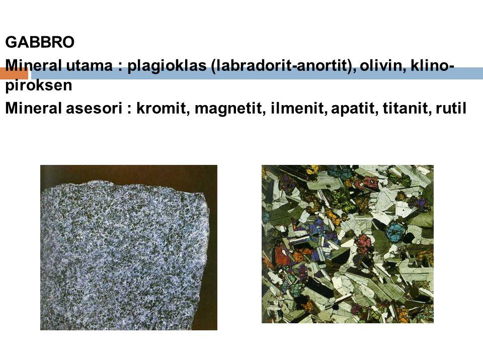 GABBRO Mineral utama : plagioklas (labradorit-anortit), olivin, klino- piroksen Mineral asesori : kromit, magnetit, ilmenit, apatit, titanit, rutil