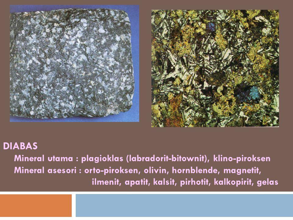 DIABAS Mineral utama : plagioklas (labradorit-bitownit), klino-piroksen Mineral asesori : orto-piroksen, olivin, hornblende, magnetit, ilmenit, apatit
