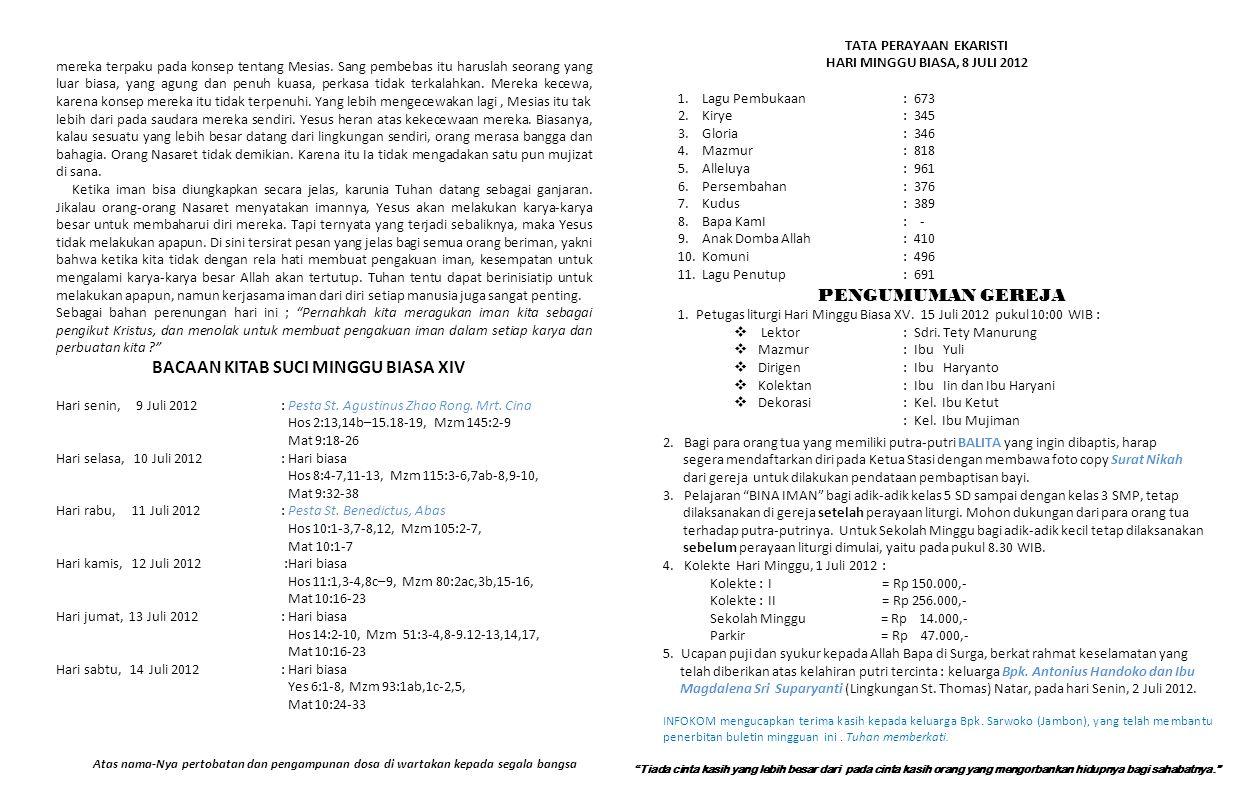 GEREJA KATOLIK SANTO PETRUS STASI NATAR, PAROKI SANTO YOHANES – KEDATON Jalan Raya Natar Nomor 201 Kecamatan Natar Lampung Selatan 35362