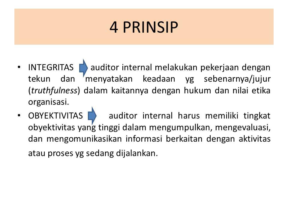 4 PRINSIP INTEGRITAS auditor internal melakukan pekerjaan dengan tekun dan menyatakan keadaan yg sebenarnya/jujur (truthfulness) dalam kaitannya dengan hukum dan nilai etika organisasi.
