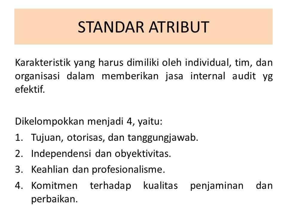 STANDAR ATRIBUT Karakteristik yang harus dimiliki oleh individual, tim, dan organisasi dalam memberikan jasa internal audit yg efektif.