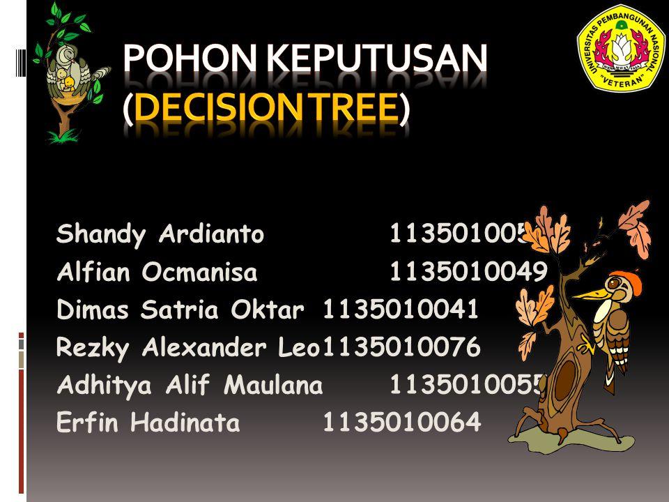 Pohon Keputusan (Decission Tree)  adalah salah satu metode klasifikasi yang menggunkan representasi suatu struktur pohon yang yang berisi alternatif-alternatif untuk pemecahan suatu masalah.