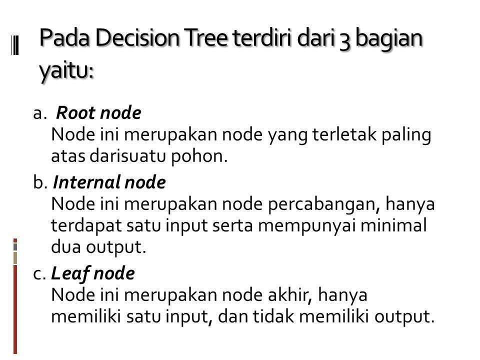 Manfaat dari Decision Tree (Pohon Keputusan)  melakukan break down proses pengambilan keputusan yang kompleks menjadi lebih simpel sehingga orang yang mengambil keputusan akan lebih menginterpretasikan solusi dari permasalahan.
