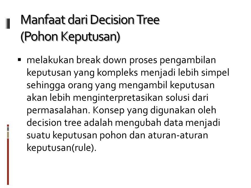 Kelebihan Pohon Keputusan Kelebihan dari metode pohon keputusan adalah: Daerah pengambilan keputusan yang sebelumnya kompleks dan sangat global, dapat diubah menjadi lebih simpel dan spesifik.