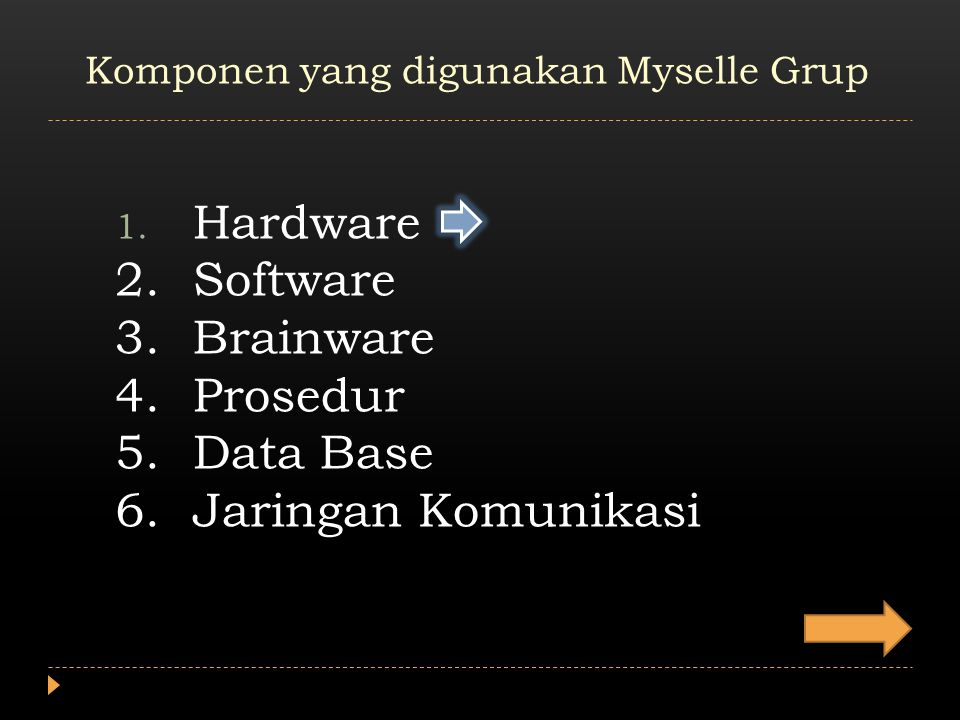 1. Hardware 2.Software 3.Brainware 4.Prosedur 5.Data Base 6.Jaringan Komunikasi Komponen yang digunakan Myselle Grup