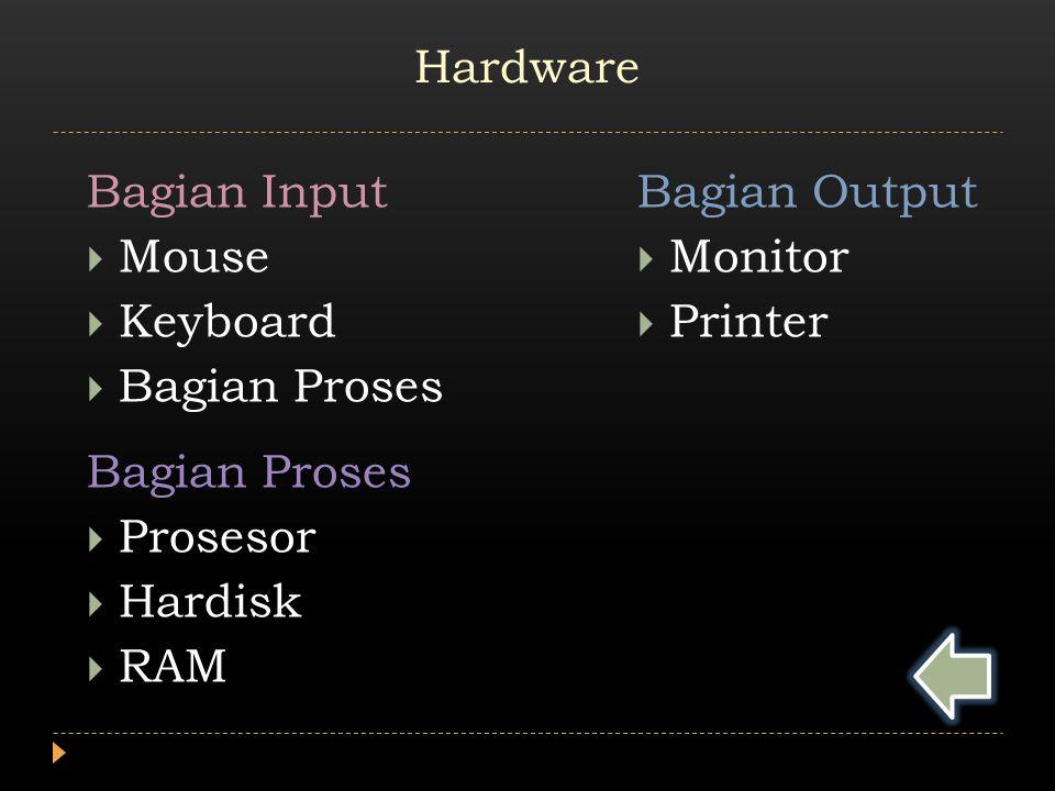 Bagian Input  Mouse  Keyboard  Bagian Proses Bagian Proses  Prosesor  Hardisk  RAM Bagian Output  Monitor  Printer Hardware