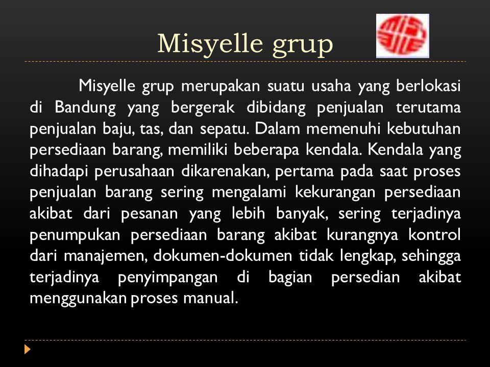 Misyelle grup Misyelle grup merupakan suatu usaha yang berlokasi di Bandung yang bergerak dibidang penjualan terutama penjualan baju, tas, dan sepatu.