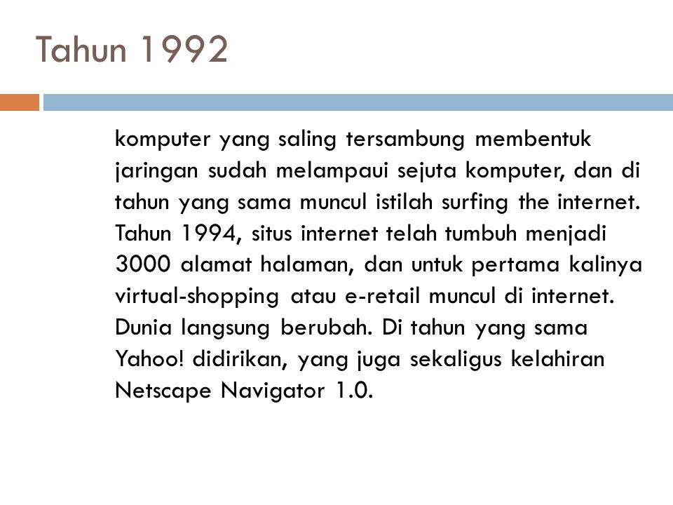 Tahun 1992 komputer yang saling tersambung membentuk jaringan sudah melampaui sejuta komputer, dan di tahun yang sama muncul istilah surfing the inter