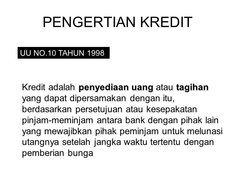 PENGERTIAN KREDIT UU NO.10 TAHUN 1998 penyediaan uangtagihan Kredit adalah penyediaan uang atau tagihan yang dapat dipersamakan dengan itu, berdasarkan persetujuan atau kesepakatan pinjam-meminjam antara bank dengan pihak lain yang mewajibkan pihak peminjam untuk melunasi utangnya setelah jangka waktu tertentu dengan pemberian bunga