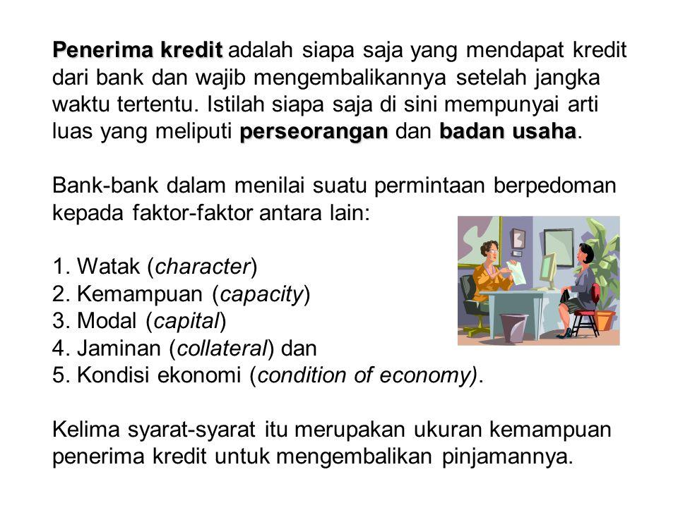 Watak (character) Dalam menentukan karakter, debitur harus mampu menunjukkan kepada bank bahwa ia adalah orang yang jujur, tidak curang dan dapat diandalkan.