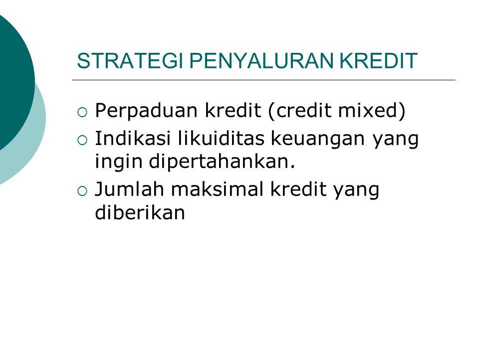 STRATEGI PENYALURAN KREDIT  Perpaduan kredit (credit mixed)  Indikasi likuiditas keuangan yang ingin dipertahankan.  Jumlah maksimal kredit yang di
