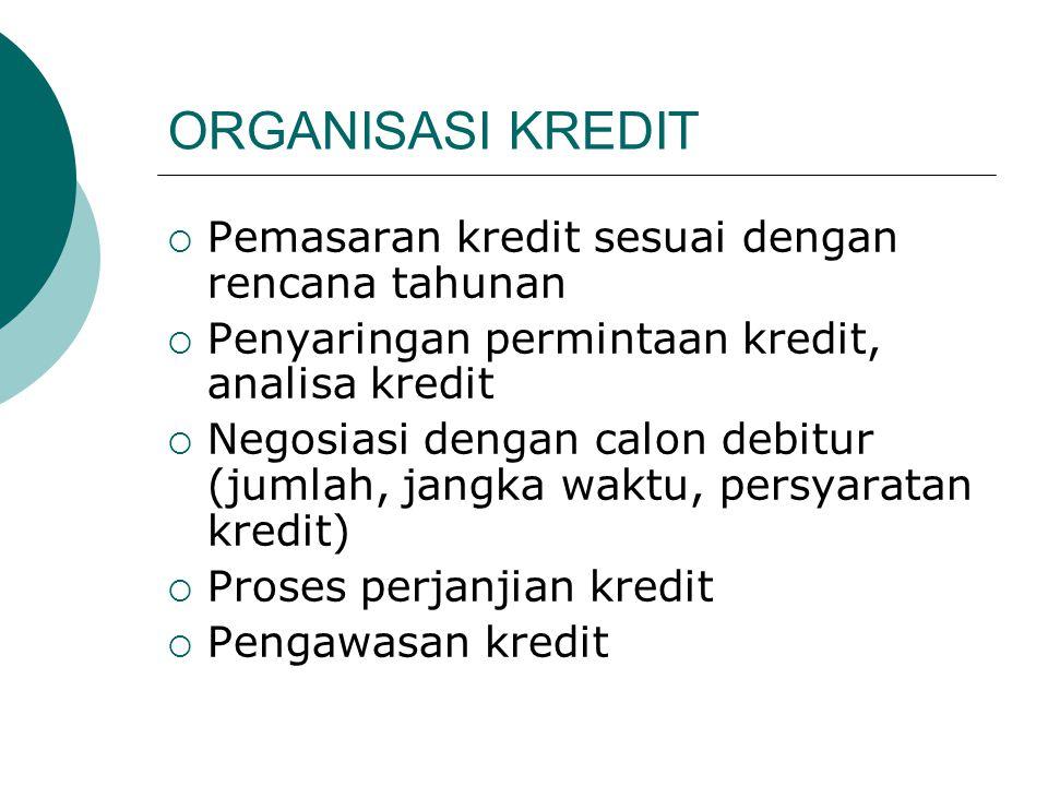 ORGANISASI KREDIT  Pemasaran kredit sesuai dengan rencana tahunan  Penyaringan permintaan kredit, analisa kredit  Negosiasi dengan calon debitur (j