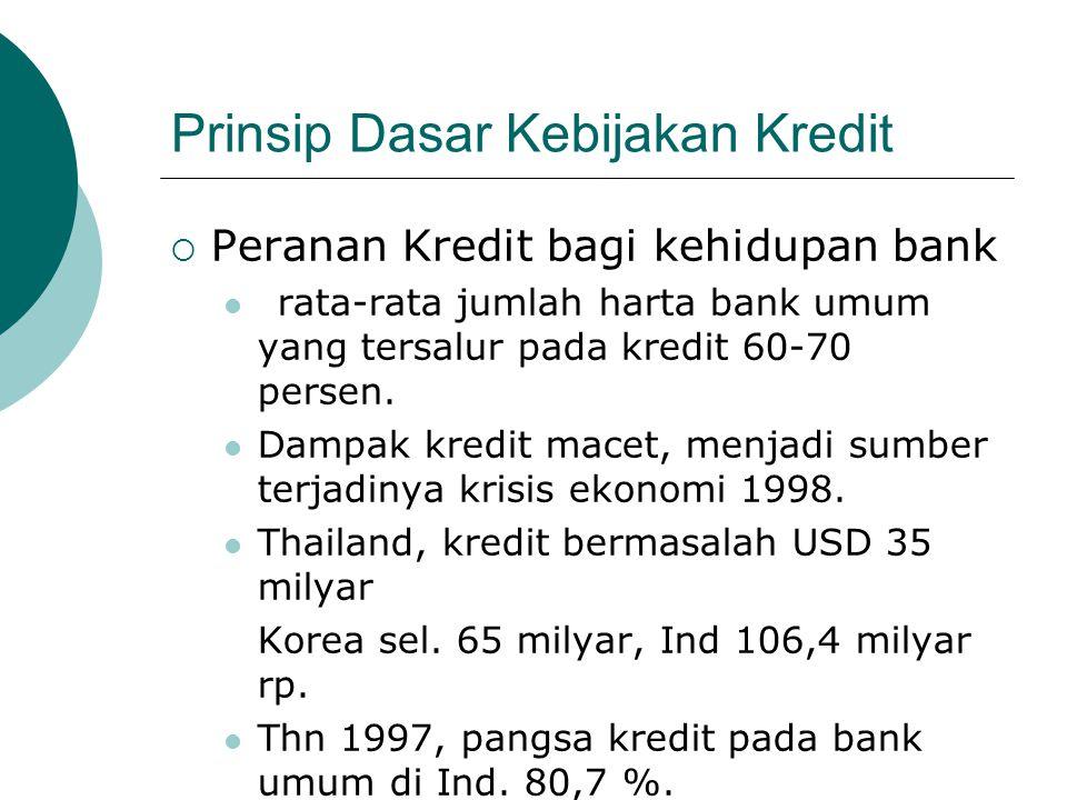 Prinsip Dasar Kebijakan Kredit  Peranan Kredit bagi kehidupan bank rata-rata jumlah harta bank umum yang tersalur pada kredit 60-70 persen. Dampak kr