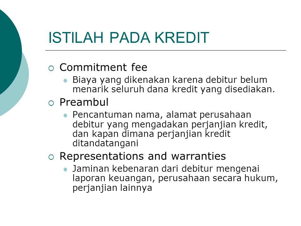 ISTILAH PADA KREDIT  Commitment fee Biaya yang dikenakan karena debitur belum menarik seluruh dana kredit yang disediakan.  Preambul Pencantuman nam