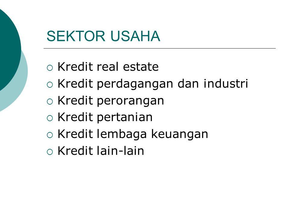 SEKTOR USAHA  Kredit real estate  Kredit perdagangan dan industri  Kredit perorangan  Kredit pertanian  Kredit lembaga keuangan  Kredit lain-lai