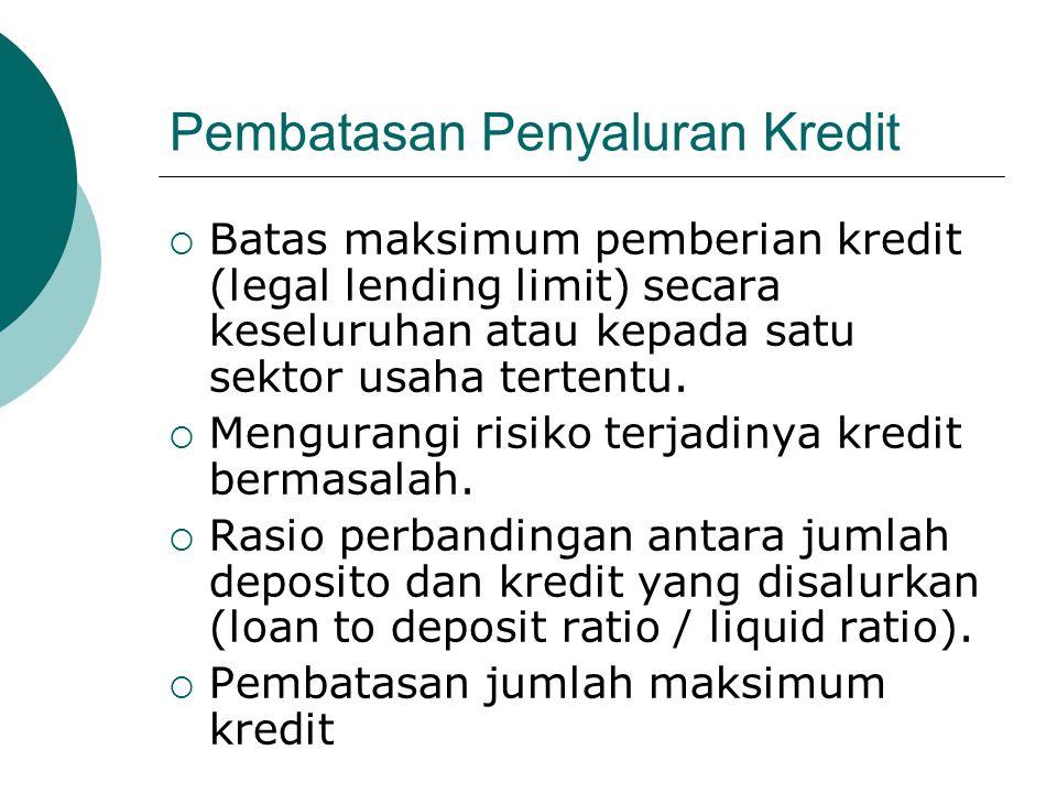 Pembatasan Penyaluran Kredit  Batas maksimum pemberian kredit (legal lending limit) secara keseluruhan atau kepada satu sektor usaha tertentu.  Meng